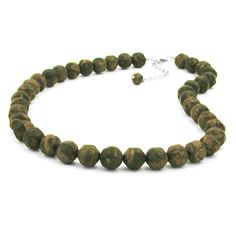 Necklace Baroque Beads 12Mm Green-Olive 50Cm