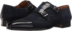 Navy blue suede and leather captoe double monk strap shoes by Magnanni