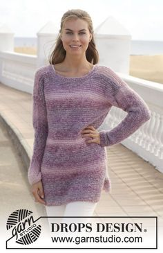 "Knitted DROPS jumper in garter st in ""Delight"" and ""Vivaldi"" or ""Alpaca Silk"". Size: S - XXXL. ~ DROPS Design"