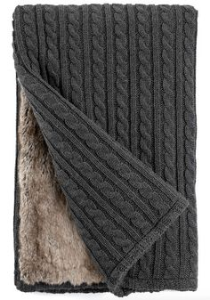 Grey Cable Knit & Lynx Faux Fur Throw Blanket by Fabulous Furs