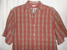 TERRITORY AHEAD Button Up Shirt-Men Size S Small-Red & Green Stripe-Short Sleeve #TheTerritoryAhead #ButtonFront