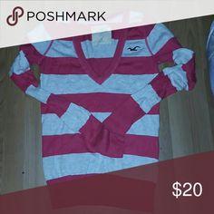 Hollister sweater Pretty pink v neck hollister sweater..open to offers Hollister Sweaters V-Necks