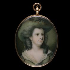 Portrait miniature of Jane, Duchess of Gordon (1748/9-1812), circa 1783, wearing gold-trimmed green hat and matching dress, her hair powdered. Richard Cosway R.A. (1742-1821)