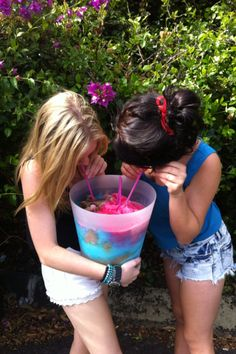 yess:) i can't tell what they sre drinking but me and my bestie Sydney eat out of a carton of ice cream together and me and my bestie Kinz share a slushie from hickory point together almost every time im at her house:)   @Kinsley McMinn:)