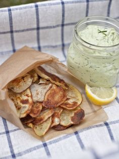 Homemade Potato Chips and Avocado Ranch Dip - the dip is easy and TASTY food-snacks-sides