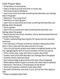 Personal Progress-Faith project ideas