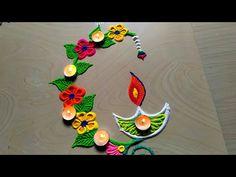 Beautiful & attractive Diwali/Deepawali flowers with diya decor Happy Diwali Rangoli, Easy Rangoli Designs Diwali, Diya Rangoli, Rangoli Simple, Rangoli Designs Latest, Simple Rangoli Designs Images, Rangoli Designs Flower, Free Hand Rangoli Design, Rangoli Patterns