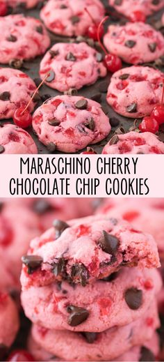 Candied cherry - Chewy Candy - Ideas of Chewy Candy - Thick & chewy maraschino cherry chocolate chip cookie recipe! Cake Mix Cookies, Cookies Et Biscuits, Yummy Cookies, Cream Cookies, Pink Cookies, Gourmet Cookies, Flower Cookies, Heart Cookies, Valentine Cookies