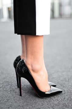 Christian Louboutin 'Pigalle 120' in black patent #CL #Louboutins #Heels