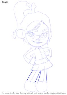 Learn How to Draw Vanellope von Schweetz from Wreck-It Ralph (Wreck-It Ralph) Step by Step : Drawing Tutorials Disney Character Drawings, Disney Drawings, Wreck It Ralph, Pencil Sketch Drawing, Pencil Drawings, Pencil Art, Disney Drawing Challenge, Vanellope Von Schweetz, Cartoon Movies