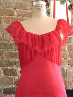 Van Raalte Myth  Vintage 1970s Sultry Red Long Nightgown by TheSparklingCocktail