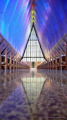 color ,inside the Air Force Academy chapel at Colorado Springs.(I'm not fond of the exterior of this building, but the inside is nice.)