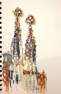 Suhita Shirodkar - La Sagrada Familia, Barcelona (Urban Sketcher)