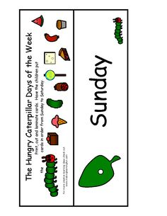 The Very Hungry Caterpillar- Days of the week sequencing cards