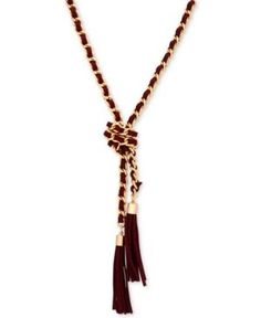 Guess Gold-Tone Faux Suede Tassel Lariat Necklace - Gold