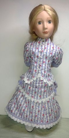 Victorian late 1800 A Girl for all time doll bustle dress The bustle dress has been designed to fit a girl for all time dolls. Please note this will not fit the american girl doll If you would like measurements to see if it will fit y Organza Ribbon, Ribbon Bows, Cotton Lace, Cotton Fabric, Bustle Skirt, Striped Fabrics, Little Red, Fitted Bodice, Girl Dolls