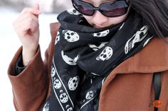 white skulls x black mcqueen scarf :: orange chocolate truffle
