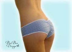 Blue and white polka dot hot pant panties briefs by BeuBeuDesign
