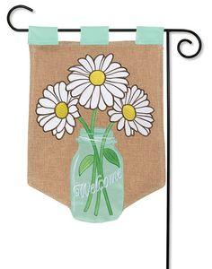 "Flower Jar Burlap Garden Flag - 12.5"" x 18"" - Flag Trends - 2 Sided Message"