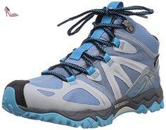 merrell grassbow mid sport gtx chaussures de randonnee tige basse femme bleu blue