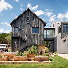 Modern farmhouse, sho sugi ban siding, glass bridge, vegetable garden, raised beds, exterior stair, tool shed, standing seam metal siding