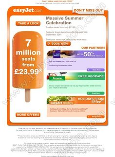 Company:    Easyjet Holidays    Subject:    Don't miss out - book your seats today before they're gone             INBOXVISION is a global database and email gallery of 1.5 million B2C and B2B promotional emails and newsletter templates, providing email design ideas and email marketing intelligence http://www.inboxvision.com/blog