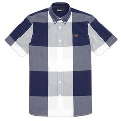 baef954694 Fred Perry Magnified Gingham Shirt - Blue Granite Comprar Ropa