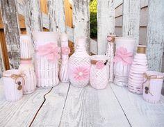 Shabby Chic Wedding Vases Set, Pink and White Lace Vintage Jars, Vintage Crafts, Chic Wedding, Wedding Centerpieces, Wedding Decoration, Gold Wedding, Summer Wedding, Wedding Ideas, Rustic Shabby Chic