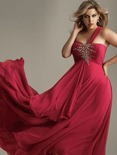 Alternate view of the Night Moves 6376W Plus Size One Shoulder Long Dress image