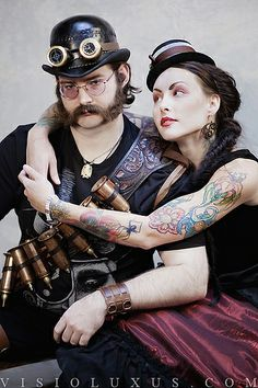 Steampunk Fashion, steam punk, Wells and Verne, PDX, tattoos, steampunk couple, goggles, fashion photography