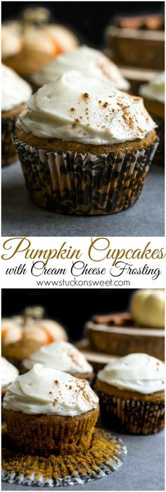 Pumpkin Cupcakes with Cream Cheese Frosting. These are a favorite fall dessert! #stuckonsweet #cupcakes #dessert #pumpkin #recipe Fall Dessert Recipes, Fall Desserts, Cupcake Recipes, Just Desserts, Delicious Desserts, Cupcake Cakes, Yummy Food, Poke Cakes, Muffin Recipes