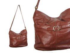 Large Brown Floppy Leather Shoulder Bag // by IntertwinedVintage