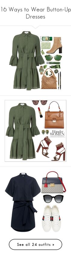 """16 Ways to Wear Button-Up Dresses"" by polyvore-editorial ❤ liked on Polyvore featuring waystowear, buttonupdresses, 10 Crosby Derek Lam, rag & bone, Yves Saint Laurent, Olivia Pratt, Christian Dior, Aesop, Pré de Provence and Clinique"