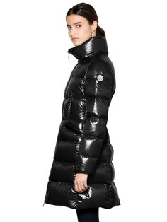 MONCLER - JASMINUM LAQUÉ NYLON DOWN JACKET - DOWN JACKETS - BLACK - LUISAVIAROMA - High collar. Front two-way zip closure . Elastic cuffs. Logo detail on sleeve. Two front zip pockets. Down feather filling . Nylon lining . Sample size: 1