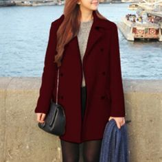 Fashion Double-breasted Solid Color Warm Woolen Coat