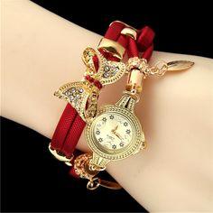 Butterfly Retro Bracelet Wristwatch with Rhinestones Trendy Watches, Big Watches, Luxury Watches, Woman Watches, Ladies Watches, Hand Watch, Beautiful Watches, Quartz Watch, Fashion Watches