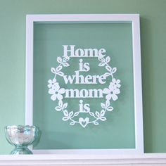 Gift for Mom Home is Where MOM Is Papercut Mothers by antdesign