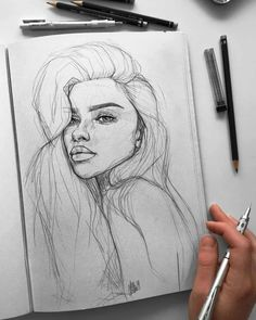 Ani Cinski is a German pencil sketch artist, Illustrator and Graphic Designer. Ani Cinski is drawing great attention to her unique sketch drawings. Pencil Sketch Drawing, Girl Drawing Sketches, Art Drawings Sketches Simple, Pencil Art Drawings, Drawing Ideas, Drawing Base, Easy Drawings, Sketches Of Girls Faces, Horse Drawings