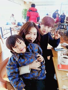 "Lee Jong Suk & Park Shin Hye with child actor on set of ""Pinocchio"""