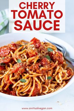 A rustic, thick and full of flavour Cherry Tomato Sauce, that's perfect for serving over pasta. It's made with only 6 ingredients and is easy enough for midweek, yet worthy of company too.#cherrytomatosauce #tomatosauce #pastasauce