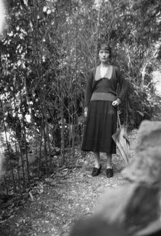 Katherine Mansfield in the gardens of the Villa Isola Bella, Menton, France