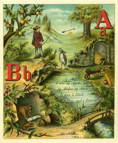 Antique Images: Vintage Children's Book Illustration: Page From Vintage ABC Book A and B