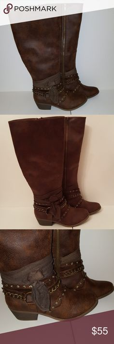 Not Rated Tuts Up Embellished Boots  Size 8 -new without box -Brand: Not Rated -Size 8 -back of one boot heel has a mark. See pictures Not Rated Shoes Heeled Boots