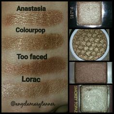 Bronze comparison: Top is Anastasia Beverly Hills glided from the Tamanna palette. Next is blaze from the Kathleen lights colourpop collab. Then hazelnut from the original Too Faced chocolate bar palette. Bottom is smokey topaz from the lorac mega pro palette