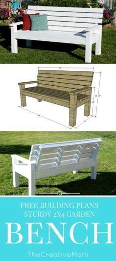 DIY Sturdy Garden Bench  Free Building Plans #WoodBenchPlans  #deckbuildingplans