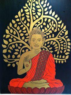 buddha Lotus Buddha, Art Buddha, Buddha Artwork, Buddha Zen, Buddha Painting, Gautama Buddha, Buddha Buddhism, Buddhist Art, Madhubani Art