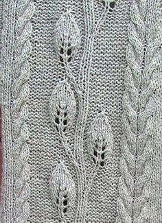 Ravelry: Leaves Jacket pattern by Elaine Phillips - links to chart for leaves