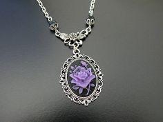 Victorian Rose Necklace, Gothic Cameo Jewellery Wedding Bridal Bride Groom Vampire, Noir Black Purple Violet Gothic Jewelry. $29.00, via Etsy.