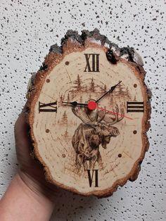 Wall Clock  Moose Hunting Nature Wildlife Wooden Wall