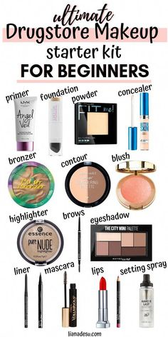 The ultimate drugstore makeup starter kit for beginners! In this post, you'll find a list of makeup products for beginners and basic makeup for beginners on a budget. Let's get your drugstore makeup kit on a budget started today! Make Up Kits, Make Up Tools, Basic Makeup For Beginners, Beginner Makeup Kit, Makeup Products For Beginners, Basic Makeup Kit, Makeup Basics, Beginner Makeup Tutorial, Make Up Beginners